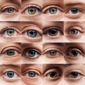 koláž s lidskými nádhernými oči různých barev