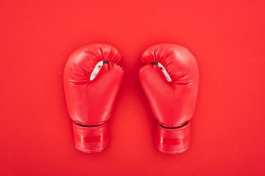 Top view of pair of leather boxing gloves isolated on red stock vector