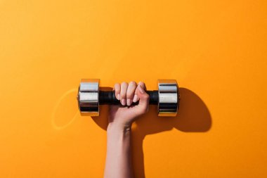 cropped view of woman holding heavy dumbbell while exercising on yellow