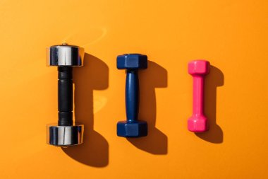 Top view of black, blue and pink metallic dumbbells on yellow stock vector
