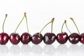 red, fresh, whole cherries with water drops on white background with copy space