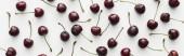 panorámás lövés a friss, édes, piros és érett cseresznye cseppeket fehér háttérrel
