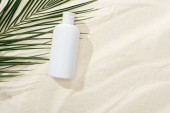 white sunscreen lotion near green palm leaf on sand