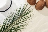 Fotografie top view of coconuts, palm leaf and white straw hat on sand