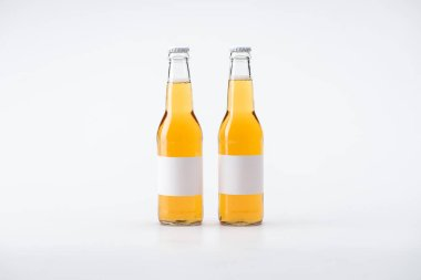 Two bottles of beer with white blank labels on white background stock vector