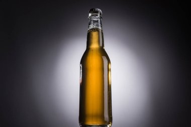 Low angle view of glass bottle with beer on dark background with back light stock vector