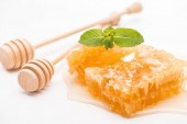 sladký vošton s medem a mátou blízko dřevěných medů na bílém pozadí