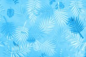 top view of exotic paper leaves on blue minimalistic background