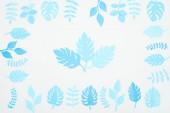 felülnézet a kék papírra vágott levelek elszigetelt fehér