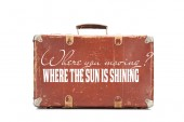 weathered brown vintage suitcase with where you moving question and where the sun is shining answer illustration isolated on white