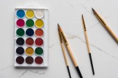 top view of watercolor paint palette and paintbrushes on marble white surface