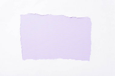 Violet striped colorful background in white torn paper hole stock vector