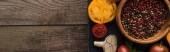 panoramatický záběr černého tácu s pepřem a solí v miskách, chilli papričkami, nakrájené rajčata a česnek na dřevěný stůl