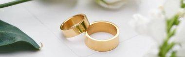 Selective focus of golden wedding rings on white envelope, panoramic shot stock vector