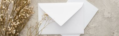 Panoramic shot of white envelope near flowers on textured surface stock vector
