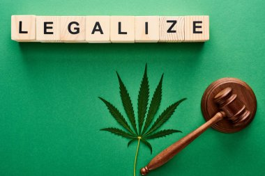 top view of green cannabis leaves and legalize word on wooden cubes near gavel on green background