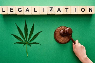 cropped view of woman holding wooden gavel near cannabis leaf and legalization lettering on wooden blocks