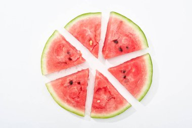 Top view of round cut juicy watermelon on white background stock vector
