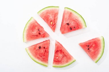 Top view of delicious juicy watermelon slices in circle on white background stock vector