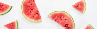 Panoramic shot of fresh natural watermelon slices on white background stock vector