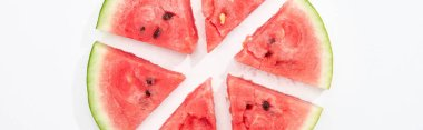 Panoramic shot of fresh organic watermelon slices on white background stock vector
