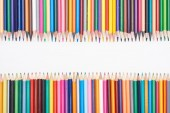 Color pencils isolated on white with copy space