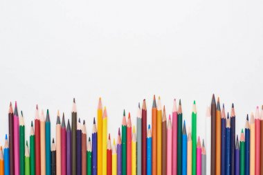 Bright color sharpened pencils isolated on white stock vector