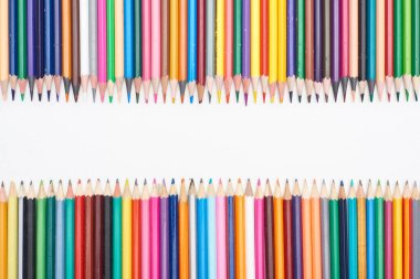 Color pencils isolated on white with copy space stock vector