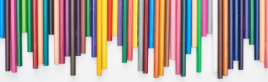 Panoramic shot of bright color pencils isolated on white stock vector
