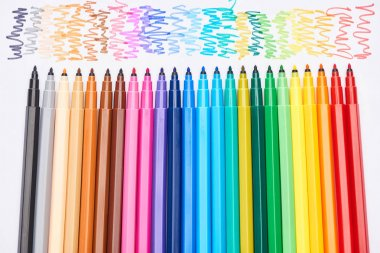 Set of bright colored felt-tip pens without cups isolated on white