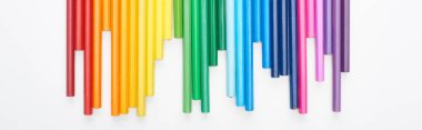 Panoramic shot of set of bright color felt-tip pens isolated on white stock vector