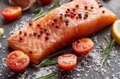 Fotografie surový losos se solí a rajčaty na kamenné desce