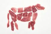 Fotografie Ansicht von oben Kuh Bild mit Fleisch Frieden isoliert auf weiß gemacht