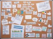 pohled na plánovací tabuli v kanceláři s kartami a poznámkami