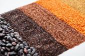schwarze Quinoa, Bohnen, Buchweizen und rote Linsen isoliert auf weiß
