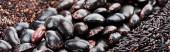 Fotografie panoramische Aufnahme von verschiedenen schwarzen Bohnen, Reis und Quinoa