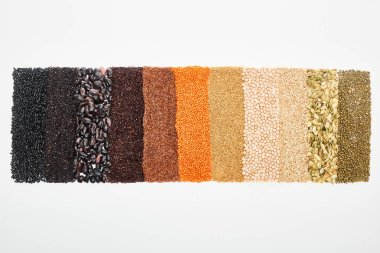 top view of assorted black beans, rice, quinoa, buckwheat, chickpea, red lentil and pumpkin seeds isolated on white