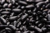 Nahaufnahme von rohen organischen kleinen schwarzen Bohnen