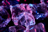 Nahaufnahme von transparenten Eiswürfeln mit lila Beleuchtung isoliert auf schwarz