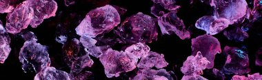 panoramic shot of transparent ice cubes with purple illumination isolated on black