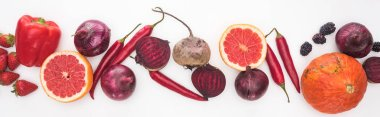 panoramic shot of onions, beetroots, grapefruits, peppers, pumpkin and berries on white background