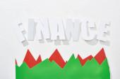 Draufsicht der Finanzinschrift mit roten und grünen Statistikgraphen auf weißem Hintergrund