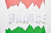 Draufsicht der Finanzinschrift mit grünen und rosafarbenen Statistiken auf weißem Hintergrund