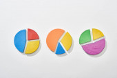 Fotografie top view of multicolor pie charts on white background