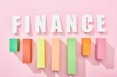 horní pohled na nápis finančnictví s grafem barevných bloků na růžovém pozadí