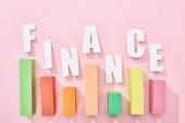 horní pohled na nápis finančnictví s barevným grafem na růžovém pozadí