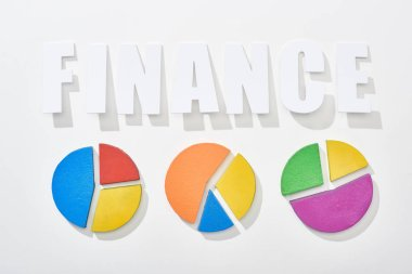 Top view of finance inscription near multicolor pie diagrams on white background stock vector