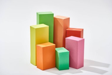 colorful blocks of statistic chart on white background