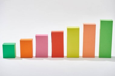 Color blocks of statistic chart on white background stock vector