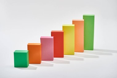 color blocks of analytical chart with shadow on white background